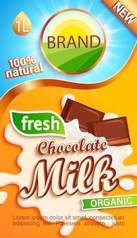 Schokoladenmilchetikett für ihre marke. natürliches und frisches getränk, schokoladenstücke im milchspritzer.