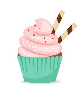 Schokoladenmuffin mit rosa zuckerguss und dünnen oblatenröhrchen