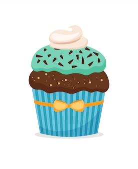 Schokoladenmuffin- oder schokoladenkuchenkleiner kuchen mit dem blauen bereifen