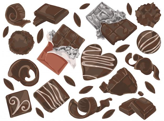 Schokoladenraspeln und stücke.