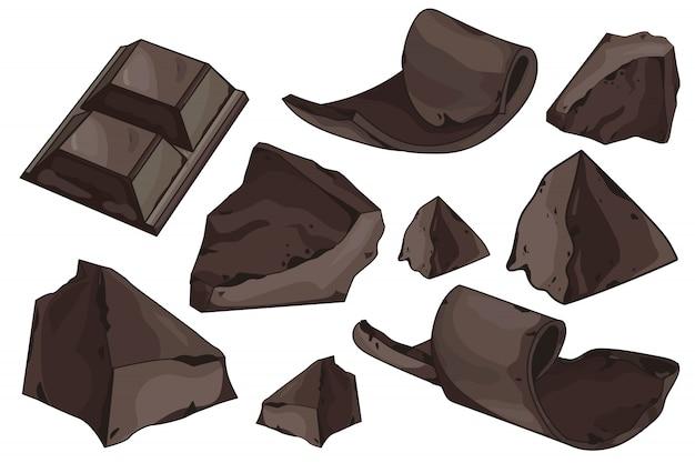 Schokoladenschnitzel eingestellt auf weiß