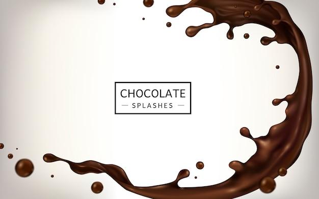 Schokoladenspritzer für verwendungszwecke isoliert auf weißem hintergrund
