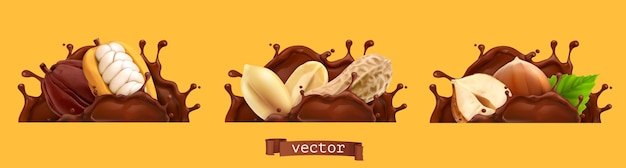 Schokoladenspritzer mit erdnüssen, kakao und haselnüssen. 3d realistischer vektor-icon-set
