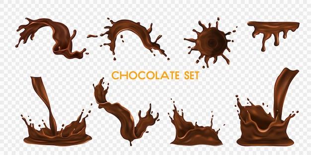 Schokoladenspritzer und tropfen realistisches transparentes set isoliert