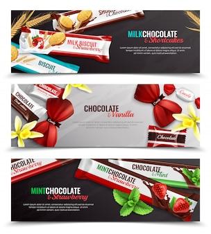 Schokoladensüßigkeiten und kekse, die mit realistischen horizontalen fahnen des vanilleerdbeerminzenaromas 3 lokalisiert verpacken