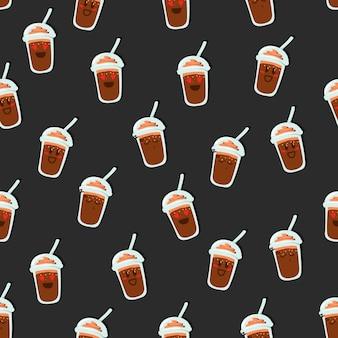 Schokoladentasse trinken emoji smiley nahtlose muster