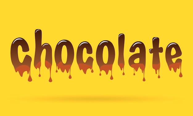 Schokoladentext auf gelbem hintergrund.