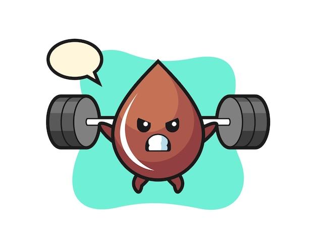 Schokoladentropfen-maskottchen-cartoon mit einer langhantel, süßes design für t-shirt, aufkleber, logo-element