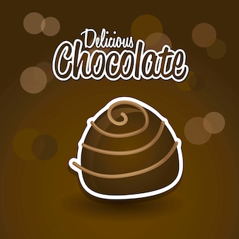 Schokoladentrüffel über brauner hintergrundvektorillustration