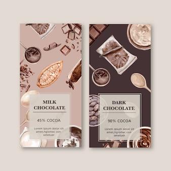 Schokoladenverpackung mit bestandteilniederlassungskakao, aquarellillustration