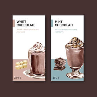 Schokoladenverpackung mit schokoladengetränk frappe, aquarellillustration