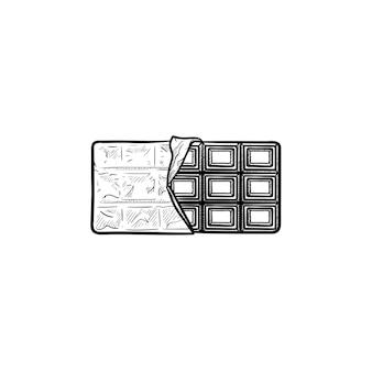 Schokoriegel handgezeichnete umriss-doodle-symbol. vektorskizzenillustration des halb geöffneten schokoriegels für druck, netz, handy und infografiken lokalisiert auf weißem hintergrund.