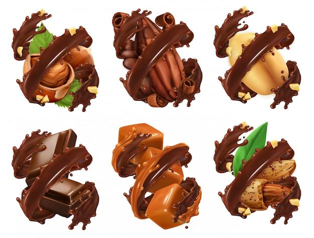 Schokoriegel, nüsse, karamell, kakaobohne in schokoladenspritzer. 3d realistischer vektor