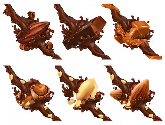 Schokoriegel, nüsse, karamell, kakaobohne in schokoladenspritzer