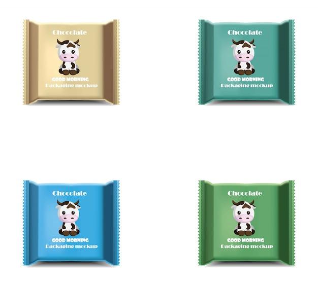 Schokoriegel realistischer satz. produktpaket vektor-label-design-logo