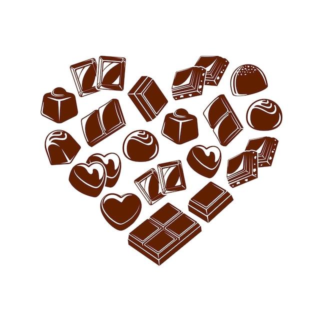Schokoriegelstücke und süßigkeitenherz. schokoladentrüffel und bonbon mit praline