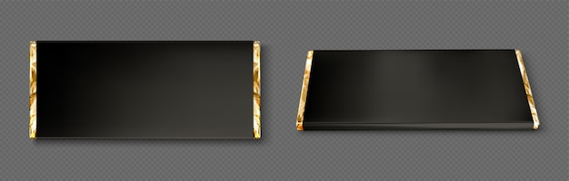Schokoriegelverpackung mit goldfolie und schwarzem papier