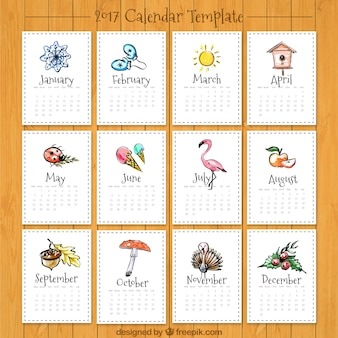 Schöne 2017 Kalender mit Zeichnungen