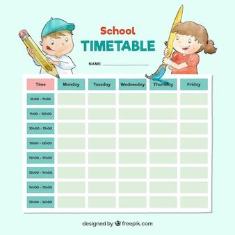 Schöne Aquarell Schule Stundenplan Vorlage