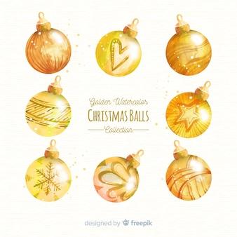 Schöne Aquarell Weihnachtskugel Sammlung