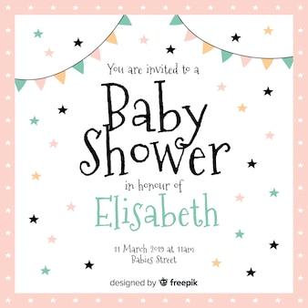 Schöne Babyduschzusammensetzung mit flachem Design