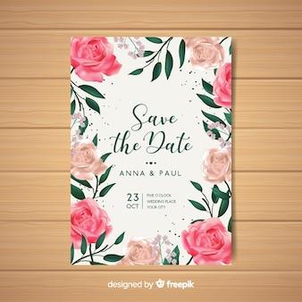 Schöne Blumenhochzeitseinladung mit realistischem Design