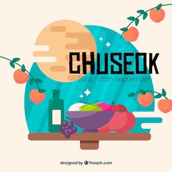 Schöne Chuseok Komposition mit flachem Design