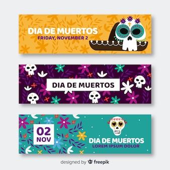 Schöne Día de Muertos Banner mit flachem Design