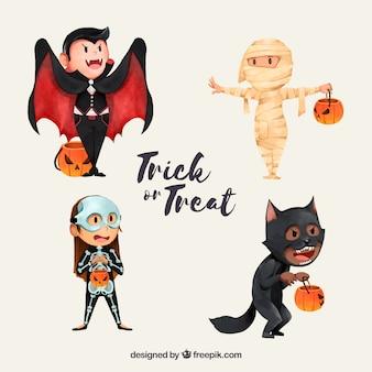 Schöne Figuren verkleidet als Halloween