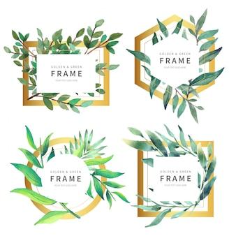 Schöne goldene Rahmen-Sammlung mit wilden Blättern