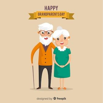 Schöne Großeltern Tag Komposition mit flachen Design