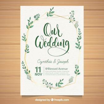Schöne Hochzeitseinladung mit Aquarellblättern