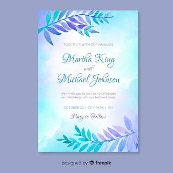 Schöne Hochzeitseinladungsschablone mit Aquarellblättern