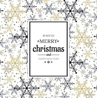Schöne Karte der frohen Weihnachten mit Schneeflockenhintergrund