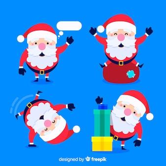 Schöne Weihnachtsmann Charakter Sammlung mit flachen Design