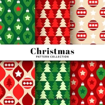 Schöne Weihnachtsmustersammlung mit flachem Design
