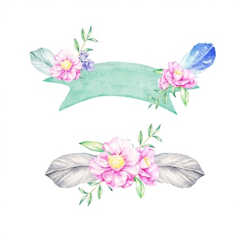 Schöner Blumeneimer und -fahne