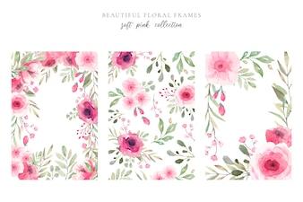Schöner Blumenrahmen in den weichen rosafarbenen Farben