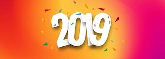 Schöner Fahnen-guten Rutsch ins Neue Jahr-Textdesign 2019