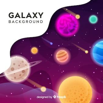 Schöner Galaxiehintergrund mit flachem Design