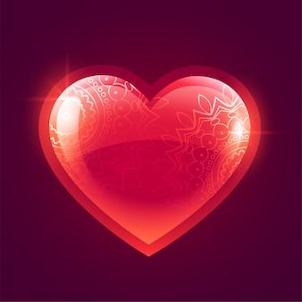 Schöner glänzender roter glühender Herzhintergrund