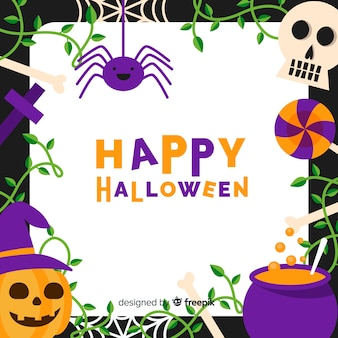 Schöner Halloween-Rahmen mit flachem Design