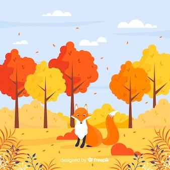 Schöner Herbsthintergrund mit flachem Design