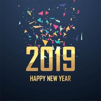 Schöner Kartenfeier-Hintergrundvektor des neuen Jahres 2019