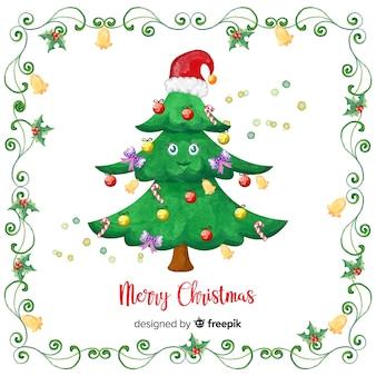 Schöner Weihnachtsbaum in Aquarell-Stil