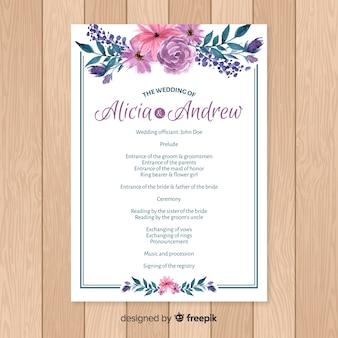 Schönes Hochzeitsprogramm mit Aquarellblumen