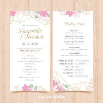 Schönes Hochzeitsprogramm mit flachem Design