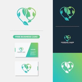 Schönheits-Frauen-Liebe mit Blatt Logo Vector Template