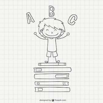 School boy scribble