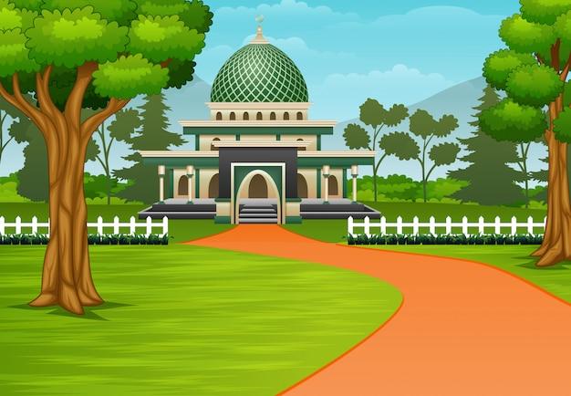 Schotterweg zur moschee mit einer wunderschönen landschaft